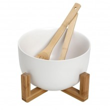 Salad Bowl 21cm with Tablespoons (White) - Espiel