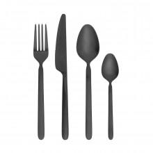 STELLA 16-Piece Cutlery Set (Black) - Blomus