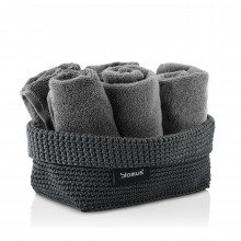 TELA Crochet Storage Basket L (Anthracite) - Blomus