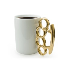 Knuckle Duster Mug (White / Gold)
