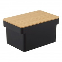 Tower Bread Case With Knife Holder (Black) - Yamazaki