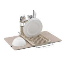 Udry Over the Sink Dish Rack & Drying Mat (Latte) - Umbra