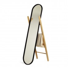 Hub Floor Mirror & Clothes Stand (Black / Natural) - Umbra