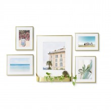 Matinee Wall Photo Frame Set of 5 (Mat Brass) - Umbra