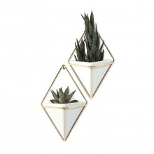 Trigg Small Hanging Wall Planter & Vase Set of 2 (White / Brass) - Umbra