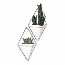 Trigg Small Hanging Wall Planter & Vase Set of 2 (White / Nickel) - Umbra