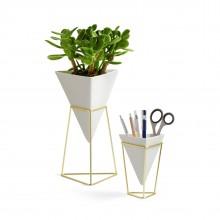 Trigg Vase & Pencil Holder Set of 2 (White / Brass) - Umbra
