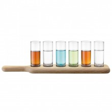 Vodka Serving Set and Oak Paddle 40 cm (Clear) - LSA