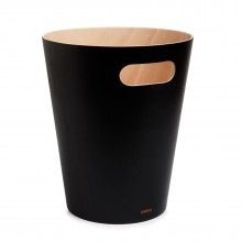 Woodrow Trash Can (Black / Natural) - Umbra