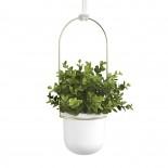 Triflora Hanging Planter (White / Brass) - Umbra