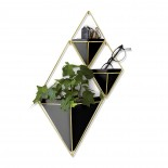 Trigg Large Hanging Wall Planter & Vase (Black / Brass) - Umbra