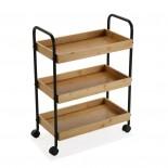 Bamboo 3-Tier Wheeled Storage Cart (Metal / Wood) - Versa