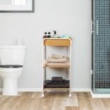 Bamboo 3-Tier Wooden Rolling Storage Cart (Natural / White) - Versa