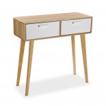 Console Table with 2 Drawers (Natural / White) - Versa