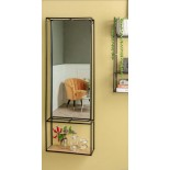 Glance Wall Rack with Mirror (Black) - Present Time