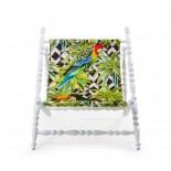 Heritage Foldable Deckchair Parrots (White) - Seletti
