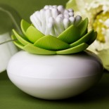 Lotus Cotton Bud / Toothpick Holder (White / Green) - Qualy