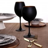 Maya Black Gold Red Wine Glasses 655 ml (Set of 6) - Espiel