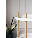 Block Table Trolley Round Ø45cm (White / Ashwood) - Normann Copenhagen