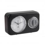 Nostalgia Alarm Clock with Kitchen Timer (Black) - Present Time