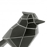 Origami Bird Statue Large (Black / White Stripes) - Present Time