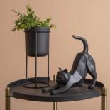 Origami Cat Stretching Statue (Black) - Present Time