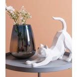 Origami Cat Stretching Statue (White) - Present Time