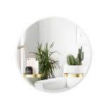 Perch Round Wall Mirror 61cm with Shelves (Brass) - Umbra