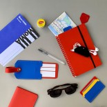 Primary Recycled Leather Cardholder (Blue / Red) - MoMa