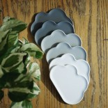 Cloud Coasters Set of 6 (Light Grey White Grey) - Qualy