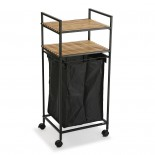 Rolling Laundry Basket with Shelving Unit (Metal/ Wood) - Versa