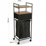 Rolling Shelving Unit with Laundry Basket (Black) - Versa