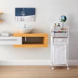 Rolling Shelving Unit with Laundry Basket (White) - Versa