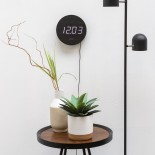 Round Wood Wall & Alarm Clock (Black) - Karlsson