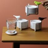 Sparrow Coasters Set of 6 (White / Black) - Qualy