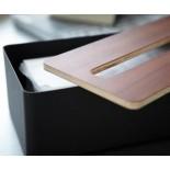 Rin Tissue Box with Lid (Black / Brown) - Yamazaki