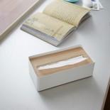 Rin Tissue Box with Lid (White / Natural) - Yamazaki