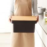 Tower Bread Case With Knife Holder (Black) - Yamazaki