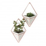 Trigg Small Hanging Wall Planter & Vase Set of 2 (Concrete / Copper) - Umbra