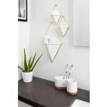 Trigg Small Hanging Wall Planter & Vase Set of 2 (White / Brass) - Umbra