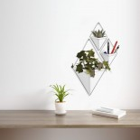 Trigg Large Hanging Wall Planter & Vase (White / Nickel) - Umbra