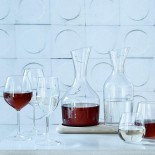 Wine and Water Carafe Set with Oak Base 1.2L & 1.4L (Clear) - LSA