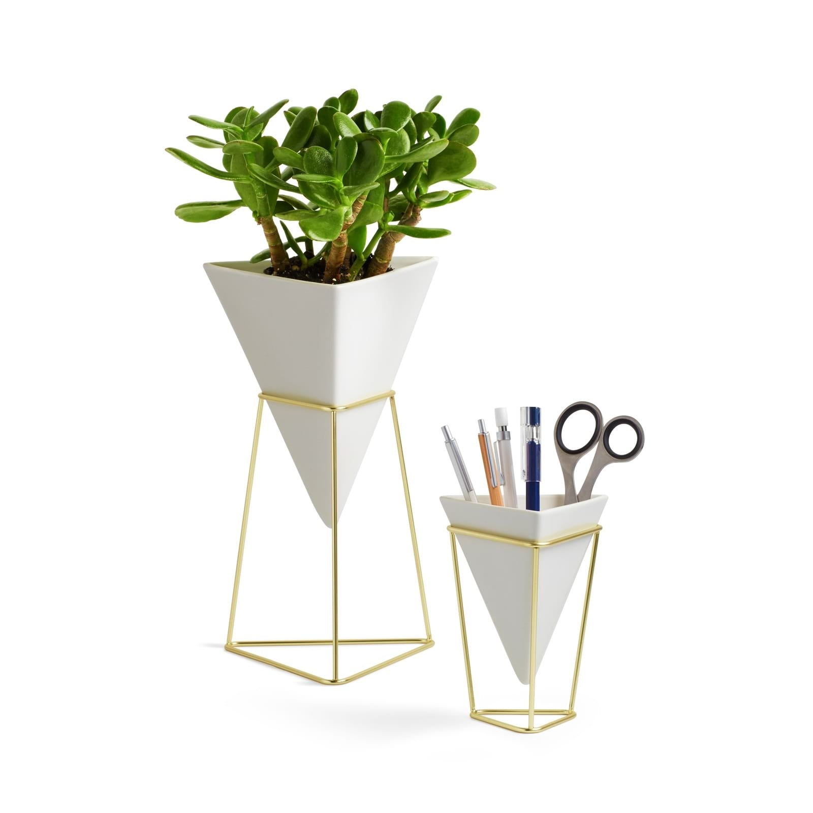 Trigg Vase & Pencil Holder Set Of 2 (White Brass)